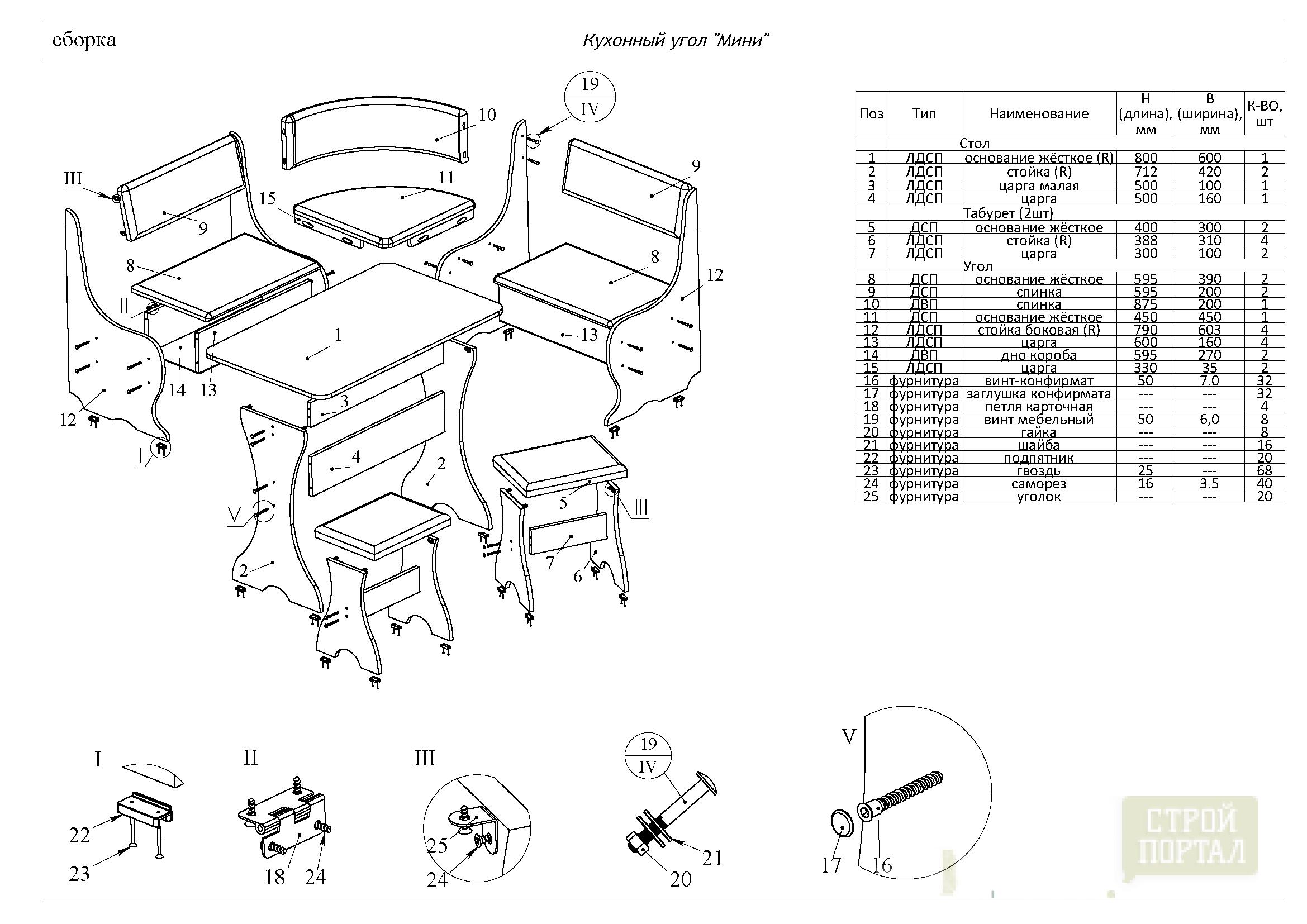 Схема сборки кухонных уголков своими руками 846