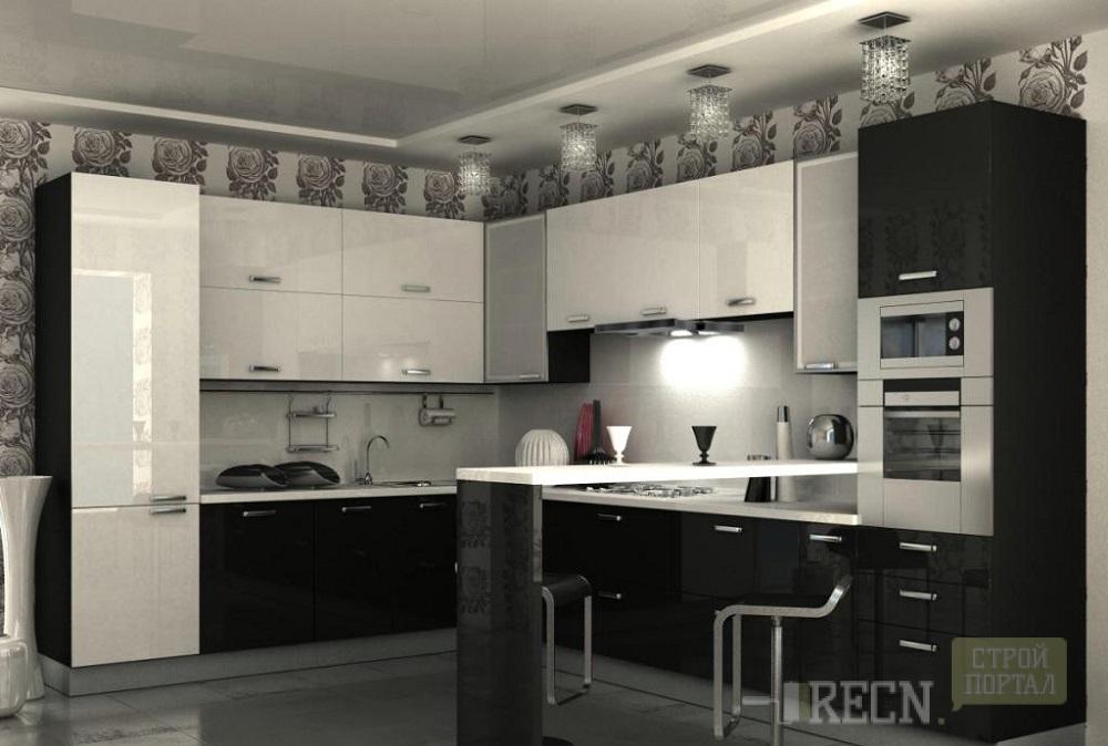 кухня в черно-белом цвете фото