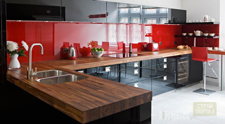 Черно белая кухня дизайн фото с яркими акцентами
