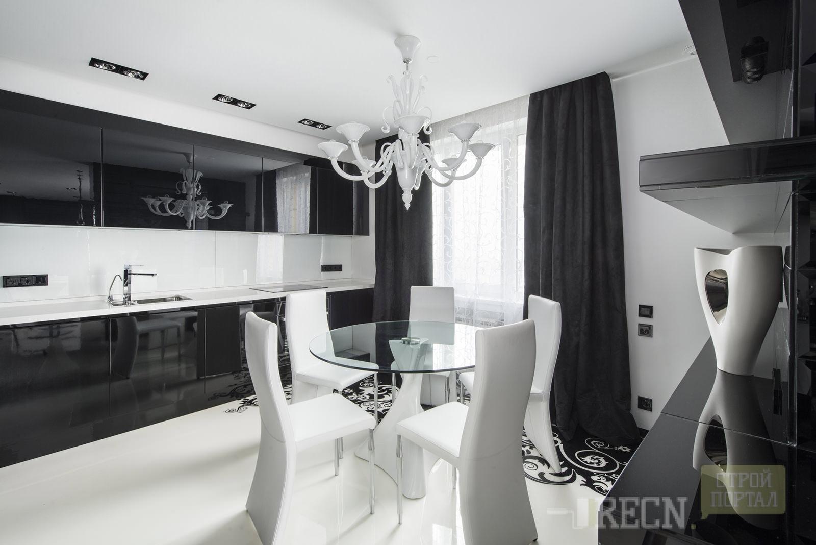 Дизайн кухни в черно белом стиле фото
