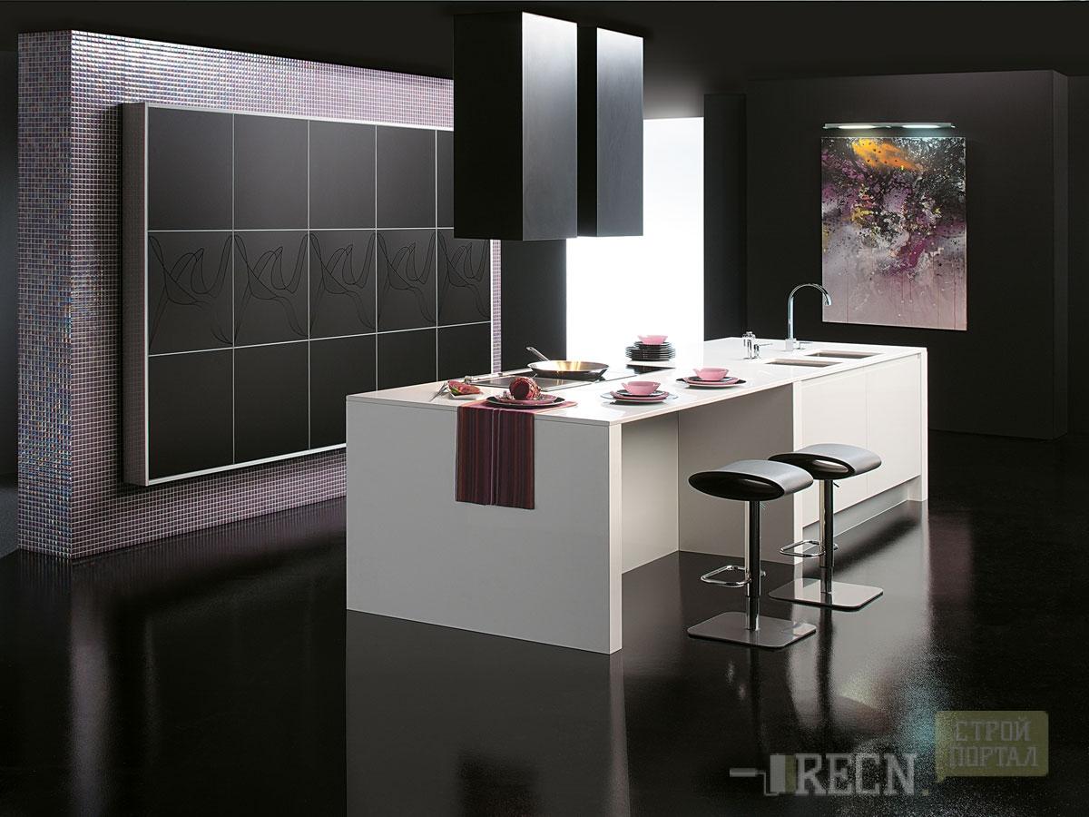 Черные полы на кухне