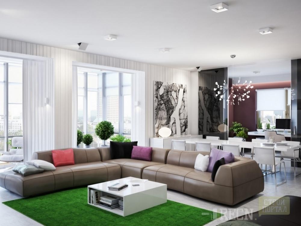 Модные интерьеры гостиных в стиле модерн 2016 фото