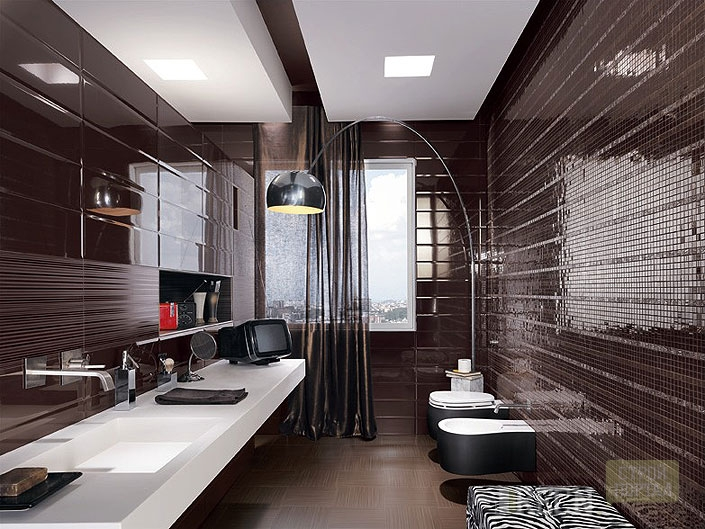 Dark tile bathroom