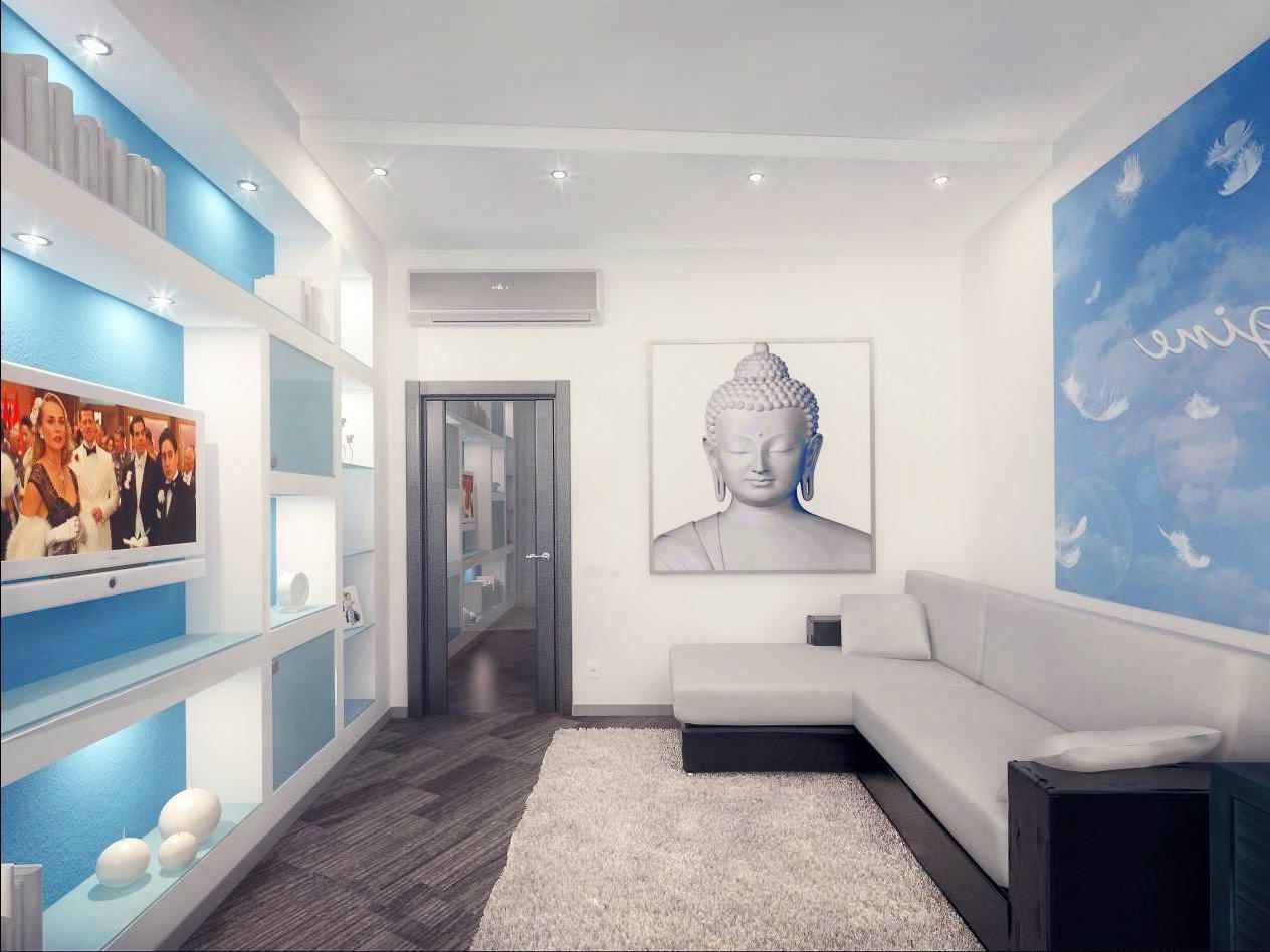 Дизайн спальни 18 кв.м с диваном