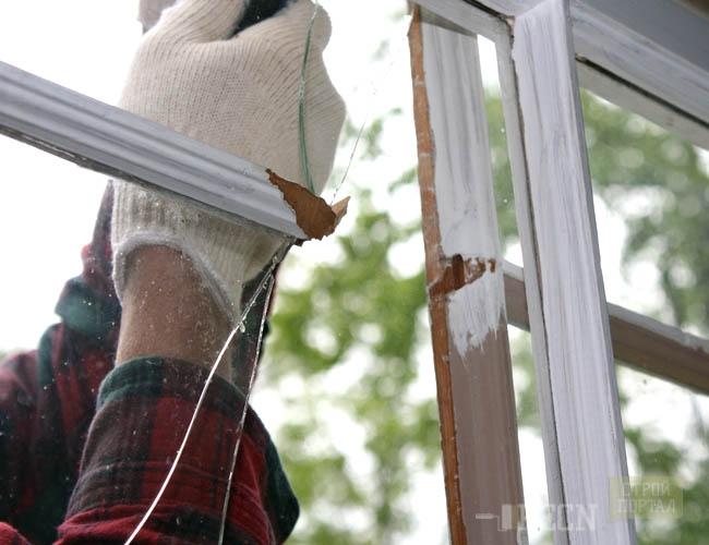 Замена стекла на балконе.