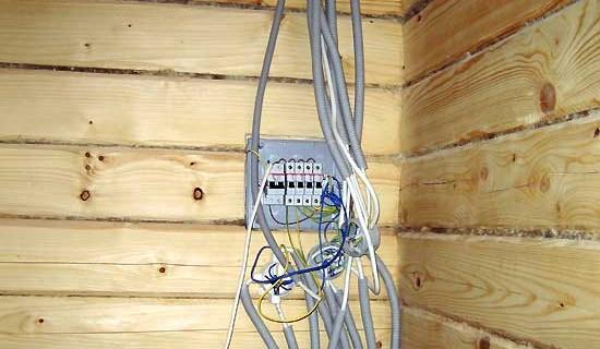 Električarji v leseni hiši z lastnimi rokami
