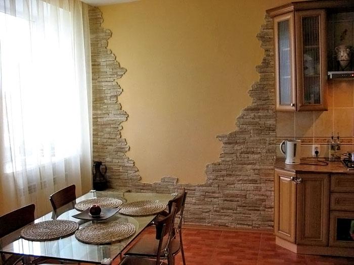 Дизайн стены камень фото