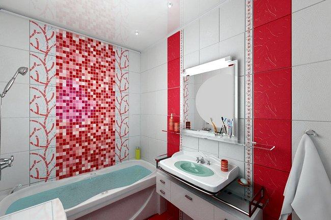 Дизайн ванной комнаты в бело-красном цвете