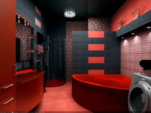 modern-contemporary-bathroom-with-dark-red-corner-bathtub-red-vanity-sink-combined-with-mosaic-wall-tiles