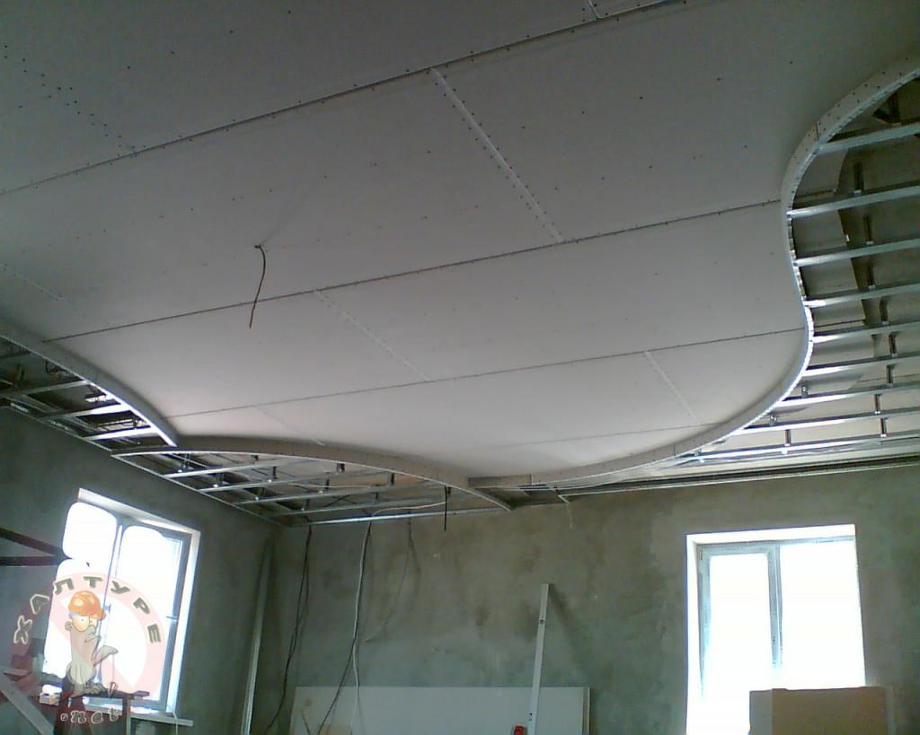 Подвесной потолок из гипсокартона своими руками: инструкция