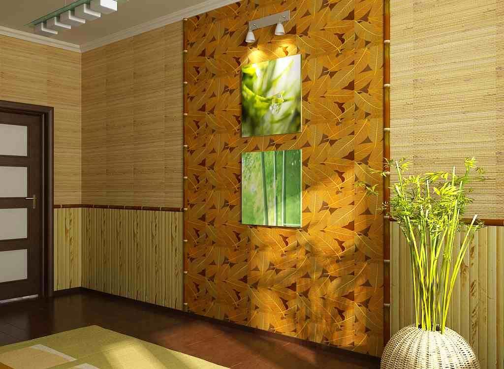 Бамбуковые обои интерьер в прихожей фото