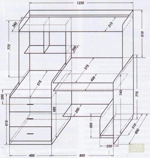 чертеж компьютерного стола с размерами